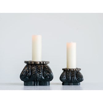 Distressed Black Finish Candle Holder