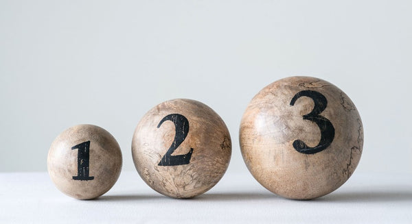 "3"" Mango Wood Ball w/ Number, 3 Styles"