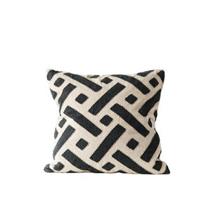 Kuba Cloth Pillow Black And Natural