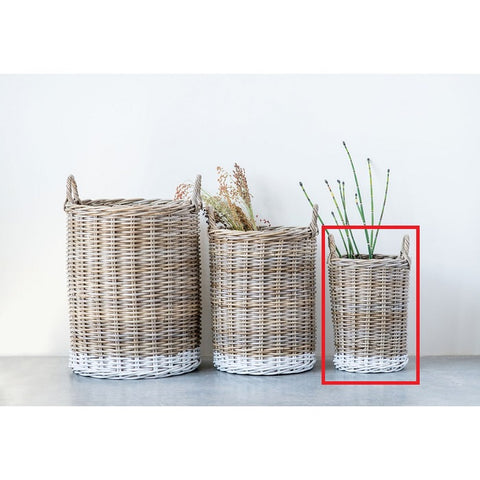Small Dipped White Natural Rattan Basket w/ Handles