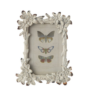 Distressed White Pewter Flower Photo Frame