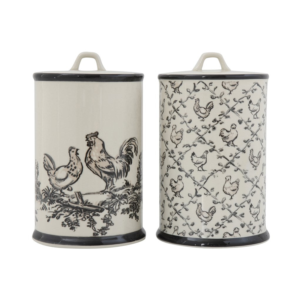 Stoneware Canister With Chickens, 2 Styles