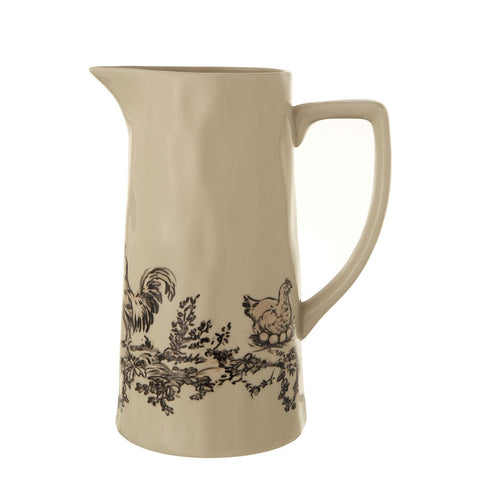 Stoneware Pitcher With Chickens