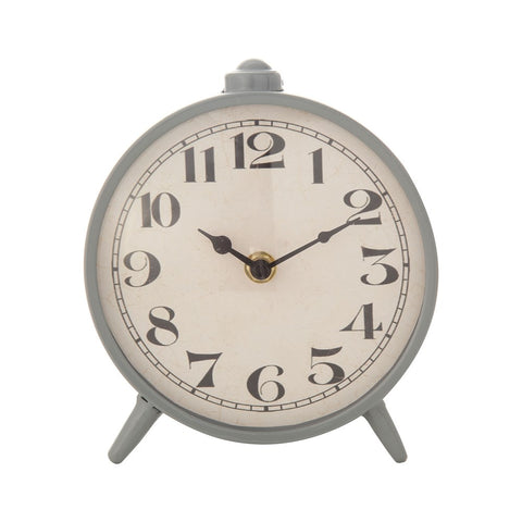 Grey Metal Mantel Clock