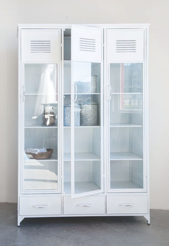White Metal Locker Style Cabinet w/ 3 Glass Doors! PICK UP ONLY!