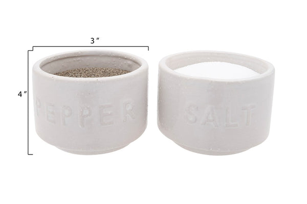 Set of White Stoneware Stackable Salt & Pepper Pots w/ Lid