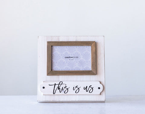 "Wood Photo Frame ""This Is Us"" (Holds 6"" x 4"" Photo)"