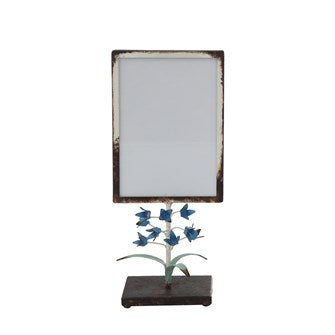 Metal Photo Frame With Blue Flowers