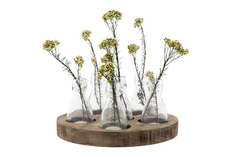 Wood Tray w/ 6 Glass Vases!!!