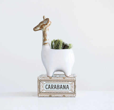 White Reactive Glaze Stoneware Giraffe Planter (Each One Will Vary)
