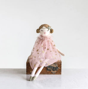 "22""H Cotton Doll w/ Pink Star Dress"