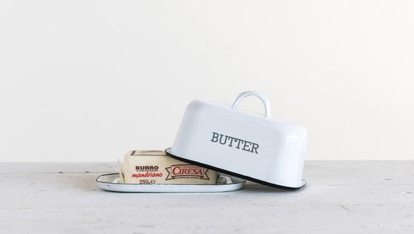 "White w/ Black Rim Enameled Butter Dish ""Butter"""