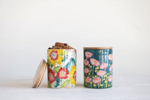 Stoneware Canister With Flower 2 Style