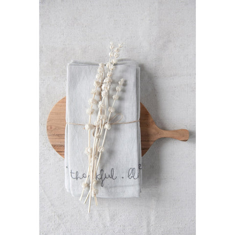 "18"" Square Cotton & Linen Blend Embroidered Napkins, Grey, Set of 4 ""Grateful. Thankful. Blessed."""