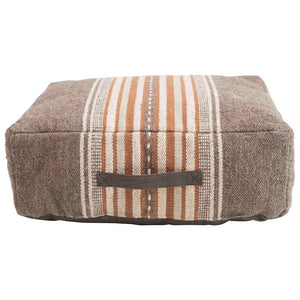 Woven Cotton Striped Pouf w/ Handle, Brown & Orange Color