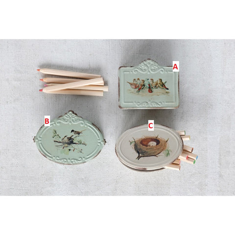 Metal Boxes with Birds & Nest Set Of 3