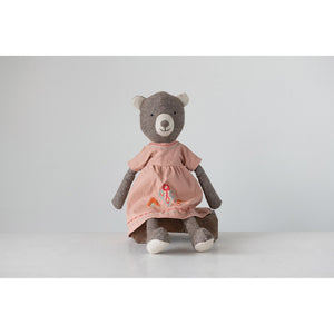 Brown & Pink Fabric Bear in Dress