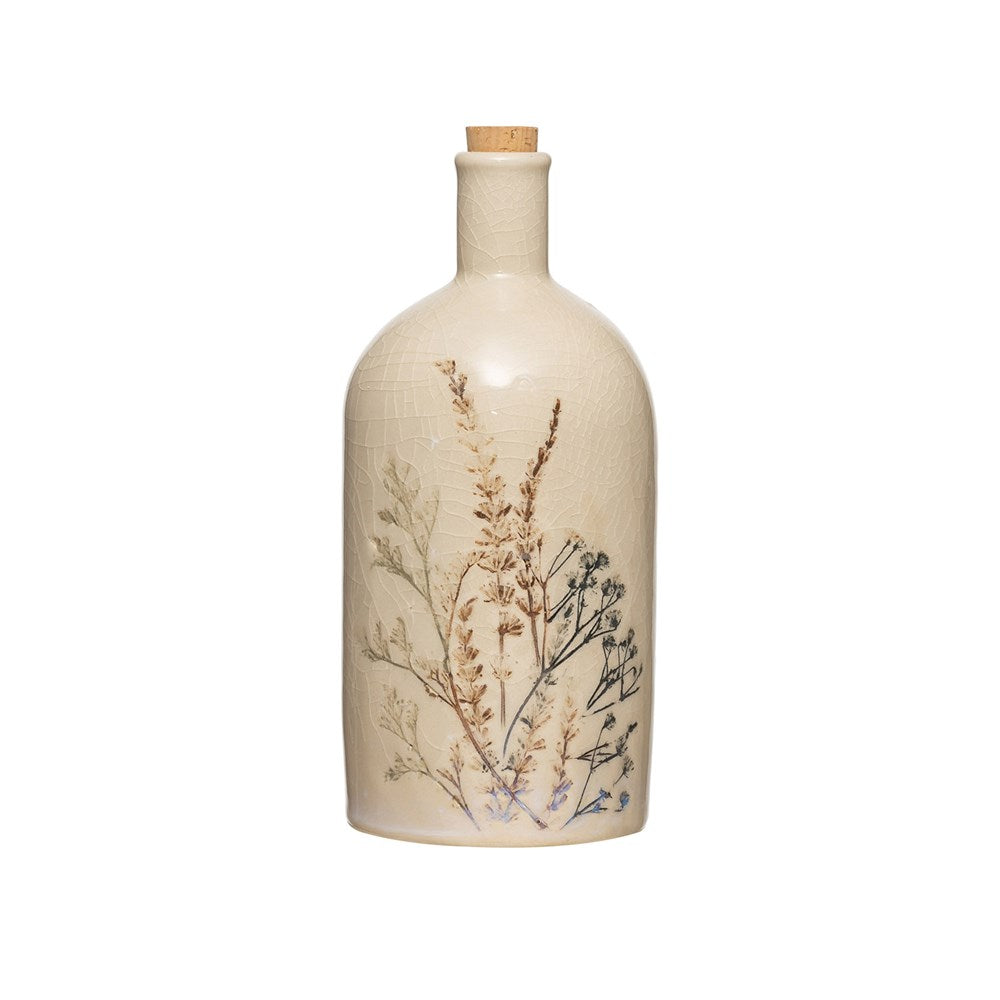 Floral Bottle With Cork Stopper
