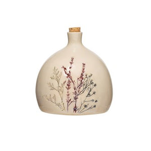 Floral Bottle With Cork 5 1/4""