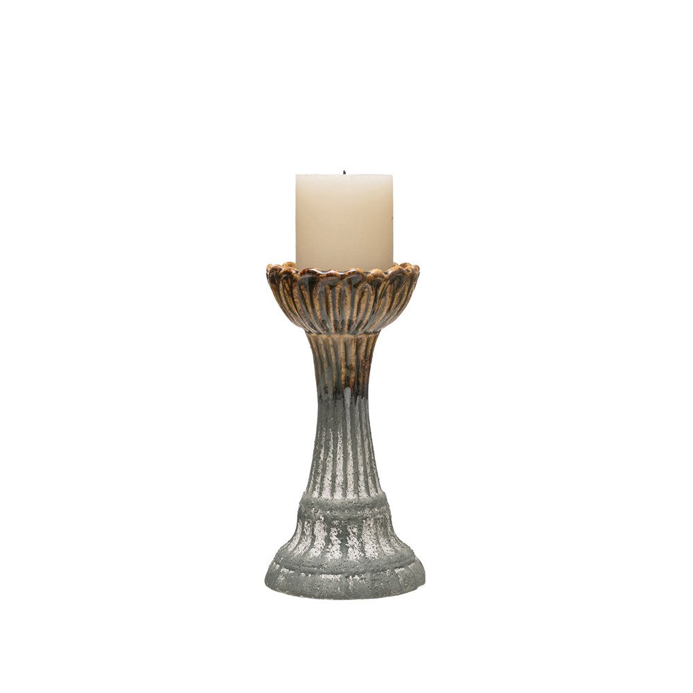 "Stoneware Candle Holder 9.5"" High"