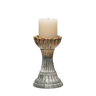 "Stoneware Pillar Candle Holder 8"" Tall"