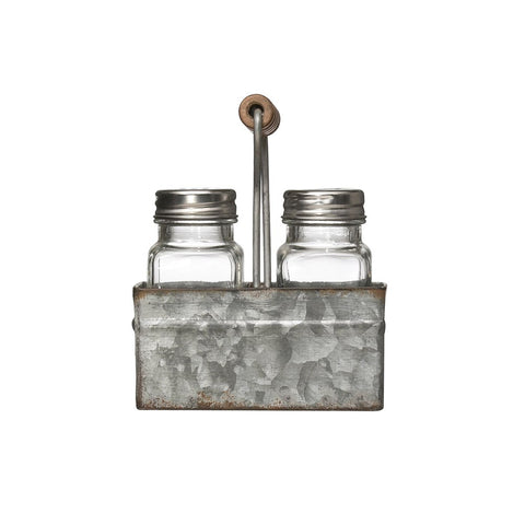 Glass Salt & Pepper Shakers In Galvanized Metal Caddy