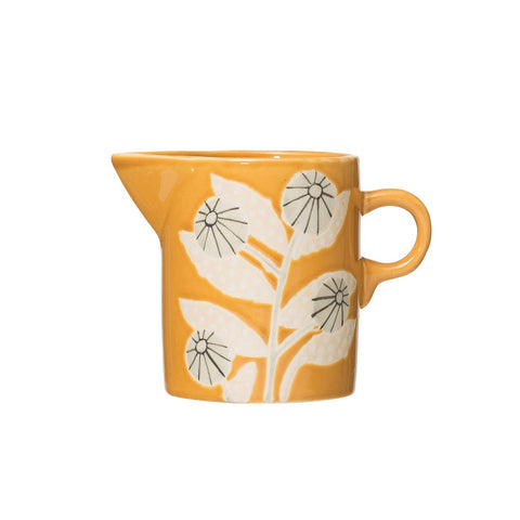 Mustard Colored Flower Creamer