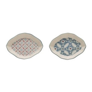 Stoneware Floral Dishes Set Of 2