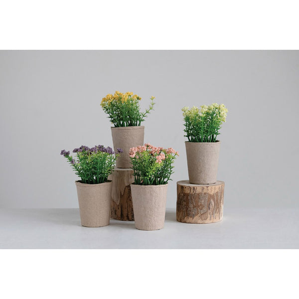 Faux Blooming Plant in Paper Pot! Four Color Options!
