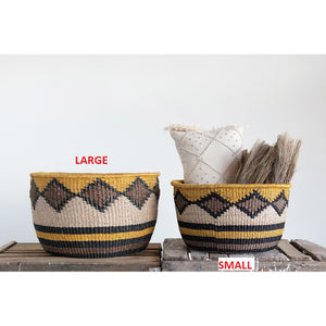 Yellow, Black & Brown, Large Hand-Woven Abaca Basket