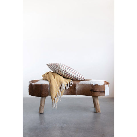 Goat Fur Bench w/ Cowhide Print & Wood Legs! PICK UP ONLY!