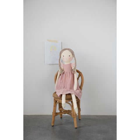 Pink Cotton Oversized Doll with Floral Dress