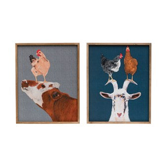 Wood Framed Canvas Wall Decor with Farm Animals! TWO Styles!