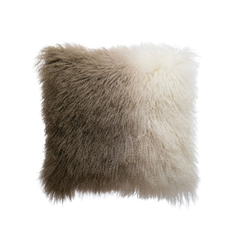 "20"" Square Natural & Charcoal Color Mongolian Lamb Fur Dip Dyed Pillow"