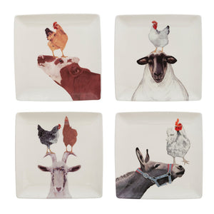"9"" Square Stoneware Plate with Farm Animals! FOUR Style Options!"
