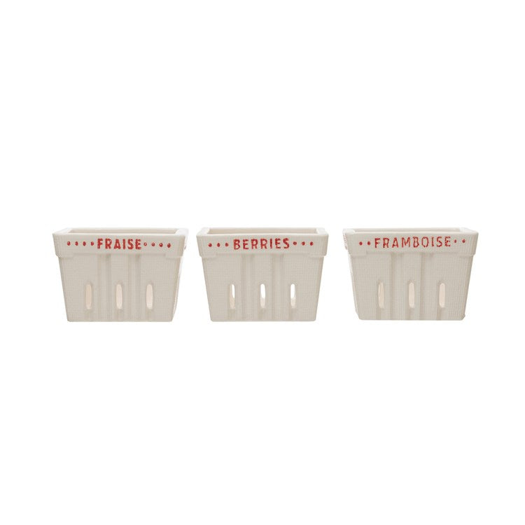 Stoneware Berry Baskets - white with red words