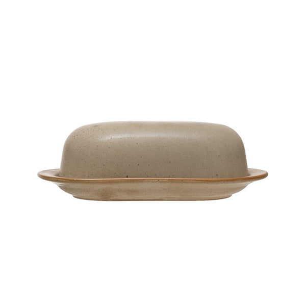 Stoneware Butter Dish, Reactive Glaze, Matte Grey (Each One Will Vary)