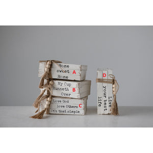 Wood Block Books with Saying & Jute Tie! FOUR Styles!