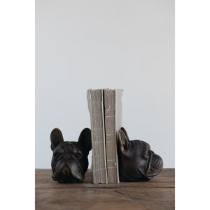 Set of Resin Dog Head Bookends, Antique Bronze Finish
