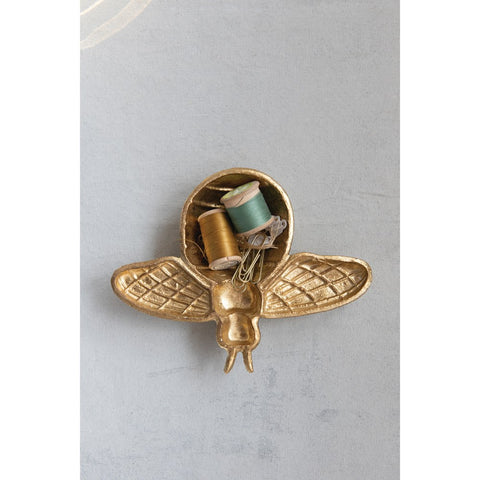 Gold Decorative Cast Iron Bee Shaped Dish