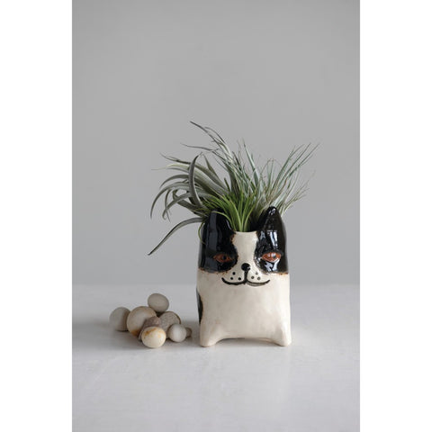 "Black & White Stoneware Dog Planter (Holds 3"" Pot)"