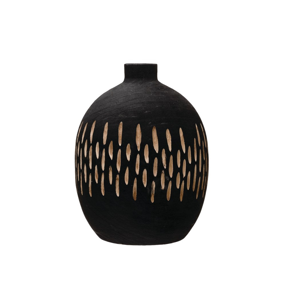 Charred Black Paulownia Wood Vase with Carved Design