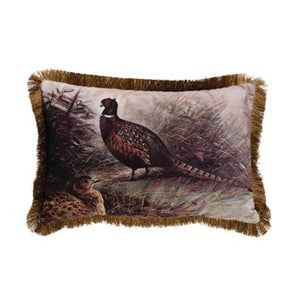 Fabric Lumbar Pillow with Fringe & Pheasant