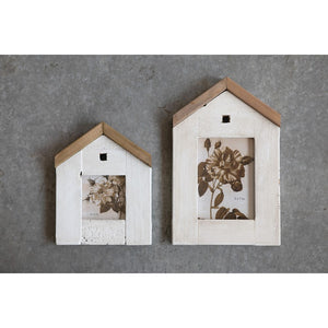 "7.5""L x 9.5""H Reclaimed Wood House Shaped Photo Frame, White (Holds 4"" x 4"" Photo)"