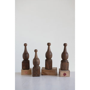 Hand-Carved Reclaimed Wood Finials (Each One Will Vary)