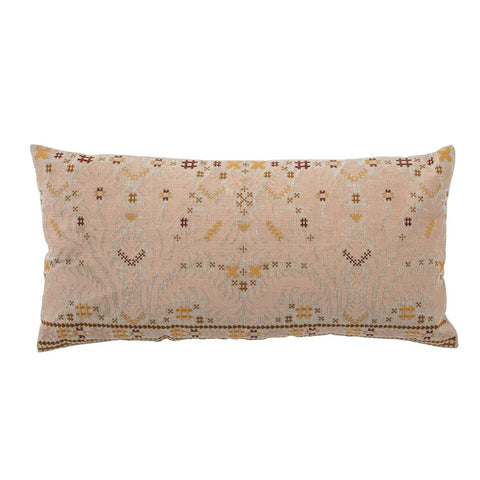 Multi Color Cotton Embroidered Lumbar Pillow