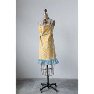 Mustard Color Cotton Apron with Flowers & Ruffle