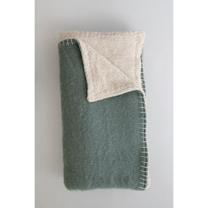 Woven Acrylic Sherpa Throw with Blanket Stitch, Blue & Cream Color
