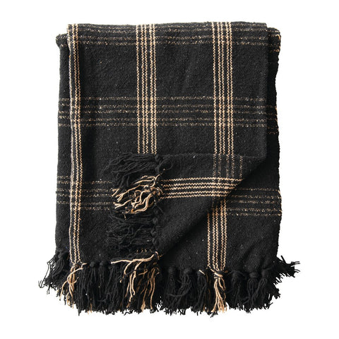 Black & Tan Plaid Woven Cotton Blend Throw with Fringe