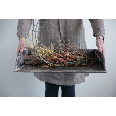 Decorative Reclaimed Wood Tray with Handles & 3 Sides